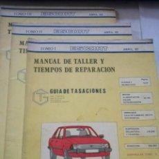 Coches y Motocicletas: FORD ESCORT, GASOLINA, MANUAL DE TALLER, GUIA DE TASACIONES, 3 TOMOS, ABRIL 1982. Lote 49996050