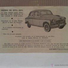 Coches y Motocicletas: SEAT 1400 ESPECIAL DE LUJO PAPELETA RIFA PRO MISIONES ESPAÑOLAS DE GUINEA PERFECTO ESTADO. Lote 50230060
