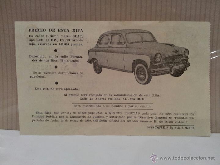 Coches y Motocicletas: seat 1400 especial de lujo papeleta rifa pro misiones españolas de guinea perfecto estado - Foto 2 - 50230060