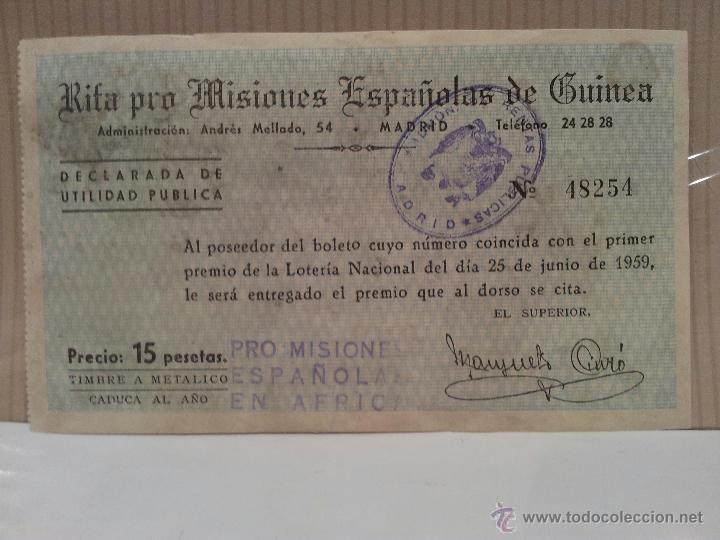 Coches y Motocicletas: seat 1400 especial de lujo papeleta rifa pro misiones españolas de guinea perfecto estado - Foto 3 - 50230060
