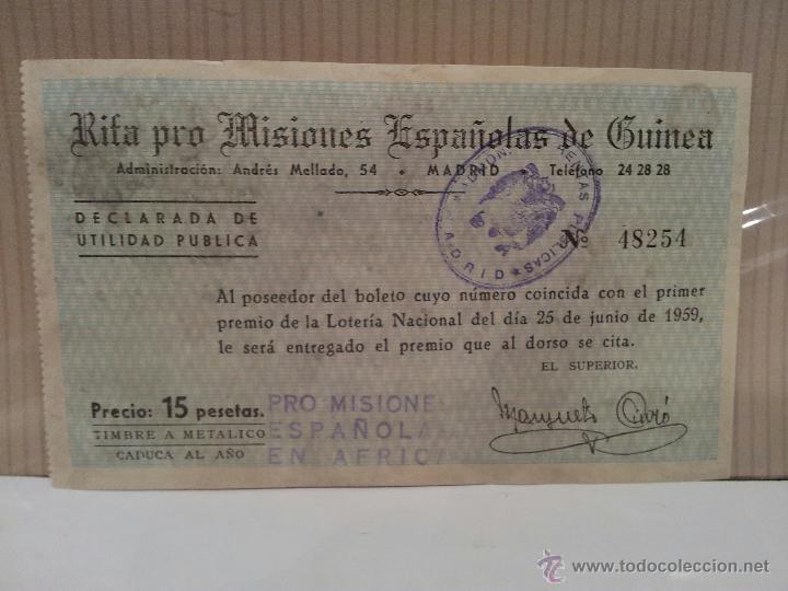 Coches y Motocicletas: seat 1400 especial de lujo papeleta rifa pro misiones españolas de guinea perfecto estado - Foto 4 - 50230060