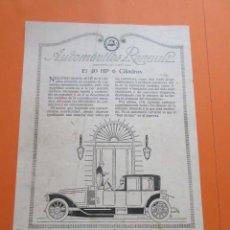 Coches y Motocicletas: PUBLICIDAD 1914 - COLECCION COCHES - RENAULT EL 40 HP 6 CILINDROS. Lote 50275047