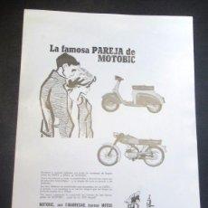 Coches y Motocicletas: HOJA PUBLICITARIA MOTOBIC SAETA Y STELA . Lote 50323989