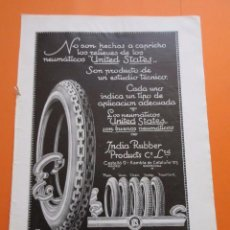 Coches y Motocicletas: PUBLICIDAD 1920 - COLECCION COCHES - NEUMATICOS UNITED STATES INDIAN RUBBER PRODUCTS. Lote 50499324
