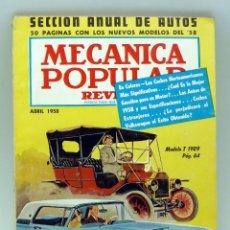 Coches y Motocicletas: MECÁNICA POPULAR REVISTA Nº 4 VOL 22 ABRIL 1958 SELECCIÓN ANUAL DE AUTOS NUEVOS THUNDERBIRD MODELO T. Lote 50527963