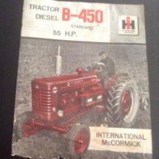 Coches y Motocicletas: FOLLETO CATALOGO ORIGINAL DE TRACTOR DIESEL B-450 STANDARD MCCORMICK INTERNATIONAL. Lote 191892316
