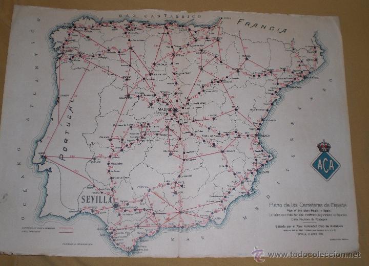 mapa de carreteras espaa y andalucia aca 1924  Comprar Catlogos