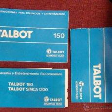 Coches y Motocicletas: MANUAL TALBOT 150 , CONJUNTO DE LIBROS TALBOT 150. Lote 50976050