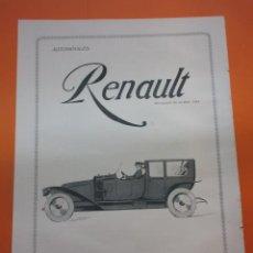 Coches y Motocicletas: PUBLICIDAD 1914 - COLECCION COCHES - AUTOMOVILES RENAULT PROVEEDOR DE LA REAL CASA. Lote 51061020