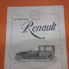 Coches y Motocicletas: PUBLICIDAD 1914 - COLECCION COCHES - AUTOMOVILES RENAULT PROVEEDOR DE LA REAL CASA. Lote 51061027