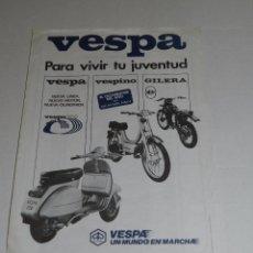 Coches y Motocicletas: CATALOGO MOTOCICLETA MOTO VESPA SA , VESPA 200 , VESPINO , GILERA , 1 PAG, 30 X 21 CM, BUEN ESTADO. Lote 51228542