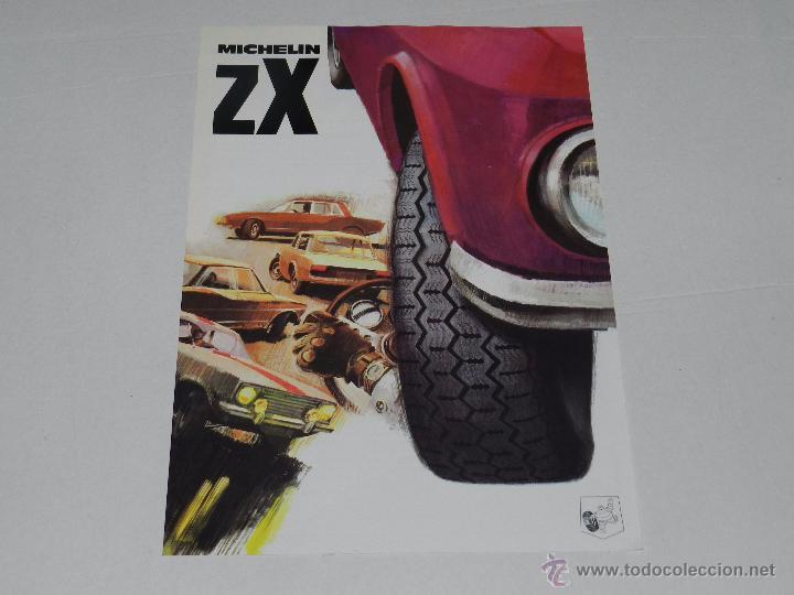 CATALOGO RUEDAS MICHELIN ZX , 1 PAG, ILUSTRADO , 30 X 21 CM, SEÑALES DE USO (Coches y Motocicletas Antiguas y Clásicas - Catálogos, Publicidad y Libros de mecánica)