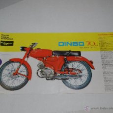 Coches y Motocicletas: CATALOGO MOTOCICLETA MOTO GUZZI HISPANIA DINGO 70 CC, ILUSTRADO DESPLEGABLE EN 3 PARTES. Lote 51316550