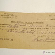 Coches y Motocicletas: MULTA DE TRÁFICO DE 1942. POLICIA DE TRÁFICO. COMISARÍA GENERAL DE ABASTECIMIENTOS Y TRANSPORTES.. Lote 51463144