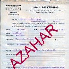 Coches y Motocicletas: SEVILLA,1936, HOJA DE PEDIDO VEHICULO RENAULT, RARISIMO. Lote 51615975