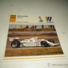 Coches y Motocicletas: AUTOS DE COLECCION EDITORIAL PLANETA FICHA TECNICA COCHES WILLIAMS FW07. Lote 51780169