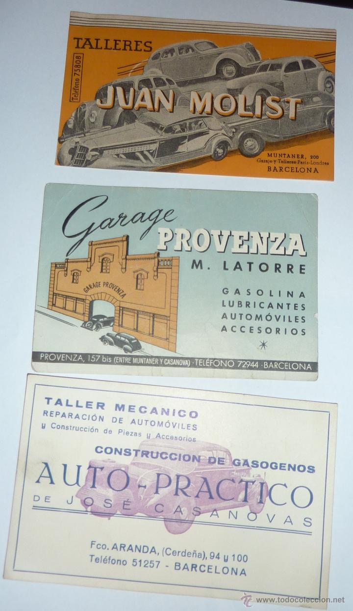 LOTE 3 BONITAS TARJETA PRESENTACION PUBLICIDAD TALLER GARAJE MECANICO AÑOS 40 (Coches y Motocicletas Antiguas y Clásicas - Catálogos, Publicidad y Libros de mecánica)