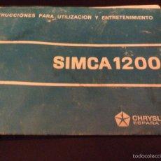 Coches y Motocicletas: SIMCA 1200 - INSTRUCCIONES PARA UTILIZACIÓN Y MANTENIMIENTO - TDK255. Lote 53423108