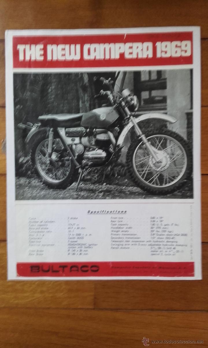BULTACO CATALOGO REPRODUCCION CAMPERA 1969 (Coches y Motocicletas Antiguas y Clásicas - Catálogos, Publicidad y Libros de mecánica)