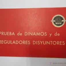 Coches y Motocicletas: PRUEBA DE DINAMOS Y DE REGULADORES DISYUNTORES. 1959 PRODUCTOS LUCAS. Lote 53694955