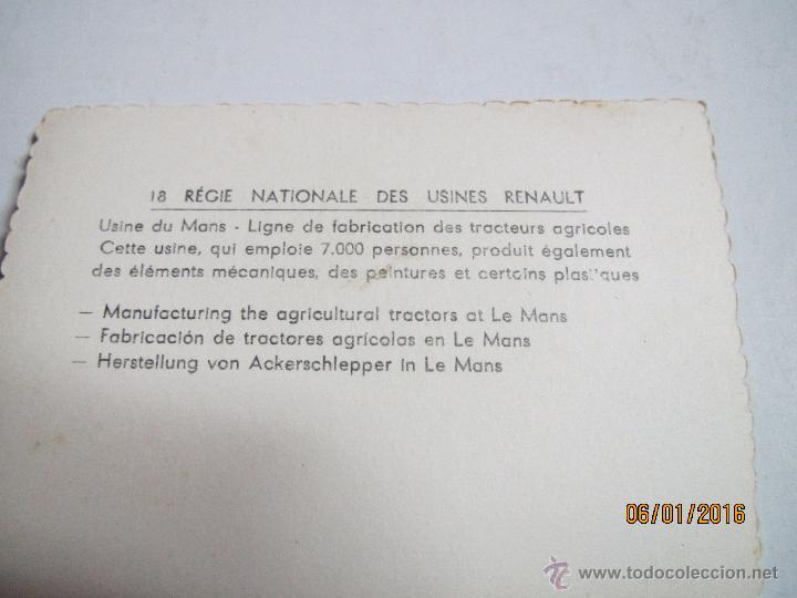 Coches y Motocicletas: Foto Publicitaria Dirección Nacional de las Fabricas RENAULT - Tractores Agricolas LE MANS Año 1950s - Foto 3 - 171957299
