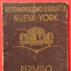 Coches y Motocicletas: PUBLICIDAD TAPAS PERMISO CIRCULACION CARNET AUTO ESCUELA NUEVA YORK AÑOS 40 BARCELONA. Lote 53784409