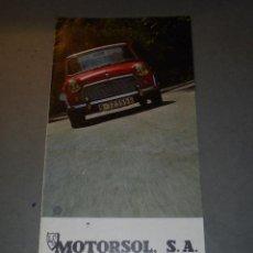 Coches y Motocicletas: ANTIGUO CATALOGO MORRIS , MG, MINI - MOTORSOL S.A. TRIPTICO 6 PAG. 21,5X10,5 CM. MARCA DE DOS TALADR. Lote 53939012