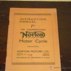 Coches y Motocicletas: MANUAL ORIGINAL INSTRUCCIONES NORTON. MODELOS 50.55.18.19.20 Y ES2 - AÑO 1934 -. Lote 54008584