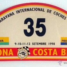 Coches y Motocicletas: PLACA Nº 35 DE LA XXXV CARAVANA INTERNACIONAL DE COCHES VETUSTOS - MOTOR CLUB GIRONA 1998.. Lote 54034852