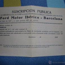Coches y Motocicletas: SUSCRIPCION PUBLICA FORD MOTOR IBERICA , BARCELONA 1929. Lote 55143609