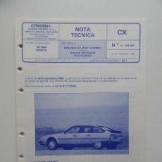 Coches y Motocicletas: NOTA TÉCNICA. BERLINGAS CX 25 GTI TURBO. NUEVOS VEHÍCULOS: CARACTERÍSTICAS - CITROËN HISPANIA S. A.. Lote 54738120