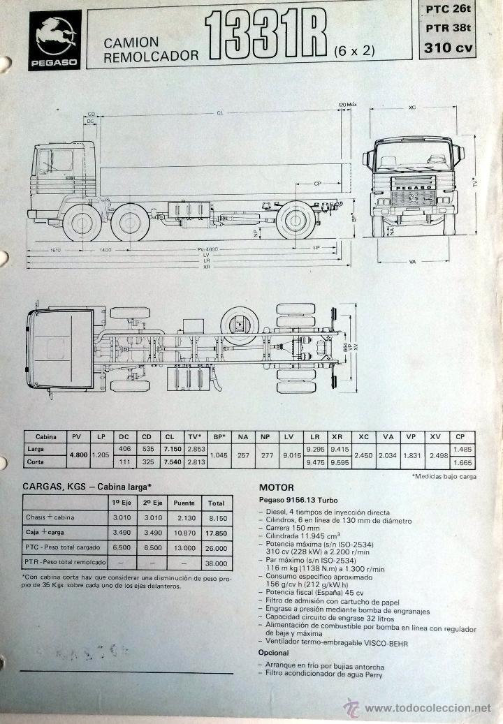 FICHA TÉCNICA PEGASO CAMION REMOLCADOR 1331R. (Coches y Motocicletas Antiguas y Clásicas - Catálogos, Publicidad y Libros de mecánica)
