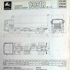 Coches y Motocicletas: FICHA TÉCNICA PEGASO CAMION REMOLCADOR 1331R.. Lote 54769212