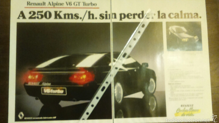 PUBLICIDAD AUTOMOVIL RENAULT ALPINE V6 GT TURBO (Coches y Motocicletas Antiguas y Clásicas - Catálogos, Publicidad y Libros de mecánica)