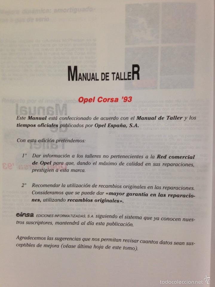 Coches y Motocicletas: OPEL CORSA 93 Manual de Taller - Foto 3 - 54963986