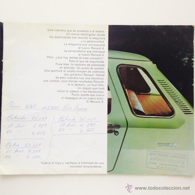 Coches y Motocicletas: Catalogo original Renault 6. Folleto Renault 6 - Foto 3 - 55025046