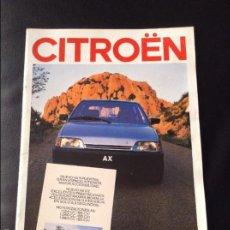 Coches y Motocicletas: FOLLETO CATALOGO PUBLICIDAD ORIGINAL CITROEN AX DE 1987 CITROËN. Lote 55237606