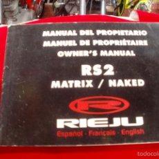 Coches y Motocicletas: RIEJU RS2 MANUAL DE PROPIETARIO. Lote 55337599