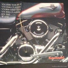 Coches y Motocicletas: FOLLETO CATALOGO PUBLICIDAD ORIGINAL KAWASAKI VN 1500 TOURER CLASSIC VN 800 DRIFTER EN 500 W 650. Lote 157026168