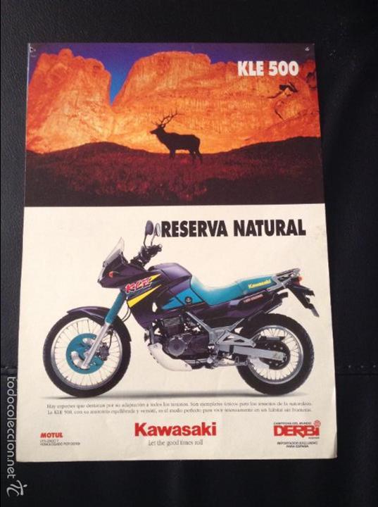 FOLLETO CATALOGO PUBLICIDAD ORIGINAL KAWASAKI KLE 500 Y VULCAN DE 1994 (Coches y Motocicletas Antiguas y Clásicas - Catálogos, Publicidad y Libros de mecánica)