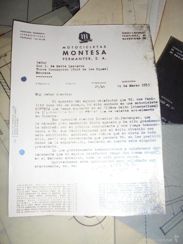 Coches y Motocicletas: MONTESA - 2 CARPETAS UNOS 200 DOCUMENTOS , DIBUJOS ORIGINALES Y PATENTES PARA REALIZAR 1953 - Foto 4 - 56278112
