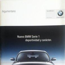 Coches y Motocicletas: DOSSIER CATÁLOGO ARGUMENTARIO -OFICIAL - BMW SERIE 1.. Lote 56372041