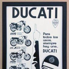 Coches y Motocicletas: CUADRO DECORACIÓN VINTAGE 43 X 33 CM # PUBLICIDAD CARTEL MOTO DUCATI MOTOTRANS # 1962. Lote 191645906