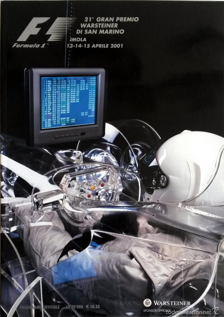 PROGRAMA OFICIAL- F1 - G.P. SAN MARINO, CIRCUITO ÍMOLA 2001. (Coches y Motocicletas Antiguas y Clásicas - Catálogos, Publicidad y Libros de mecánica)