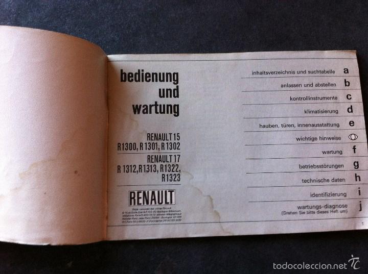 Coches y Motocicletas: Renault 15 y 17. Manual de usuario. Leer descripción. - Foto 2 - 56903747