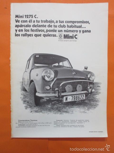 PUBLICIDAD 1970 - COLECCION COCHES - MINI 1275 C. (Coches y Motocicletas Antiguas y Clásicas - Catálogos, Publicidad y Libros de mecánica)
