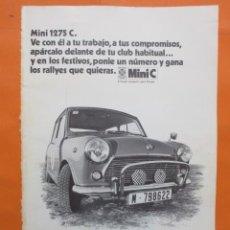 Coches y Motocicletas: PUBLICIDAD 1970 - COLECCION COCHES - MINI 1275 C. . Lote 56944745