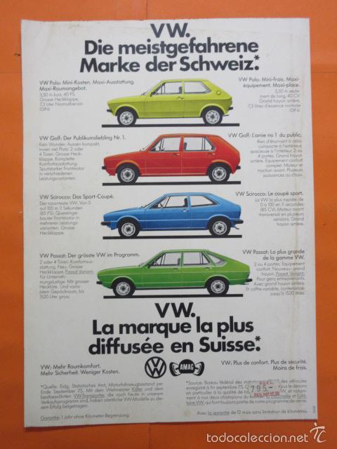 PUBLICIDAD 1976 - COLECCION COCHES VOLKSWAGEN POLO GOLF SCIROCCO PASSAT (Coches y Motocicletas Antiguas y Clásicas - Catálogos, Publicidad y Libros de mecánica)
