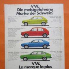 Coches y Motocicletas: PUBLICIDAD 1976 - COLECCION COCHES VOLKSWAGEN POLO GOLF SCIROCCO PASSAT . Lote 56974973