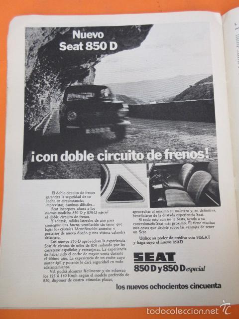 PUBLICIDAD 1972 - COLECCION COCHES - NUEVO SEAT 850 D Y 850 D ESPECIAL (Coches y Motocicletas Antiguas y Clásicas - Catálogos, Publicidad y Libros de mecánica)
